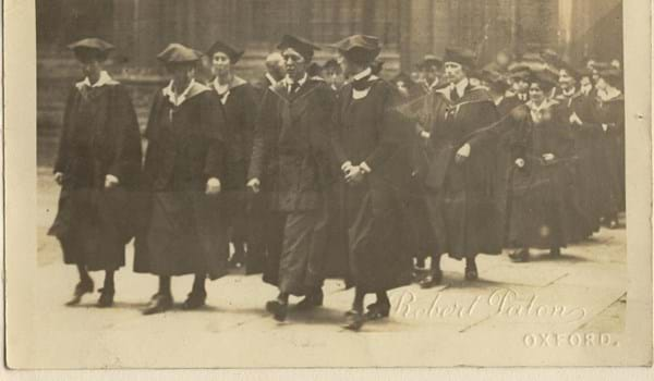 Old black and white image showing Degree Students 1920 Oxford.