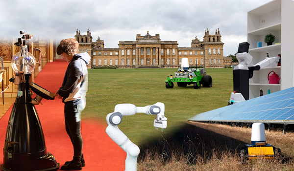 combined image with Betty robot, robot arm, Hulk robot driving through grass at Blenheim palace and jackal at solar farm.